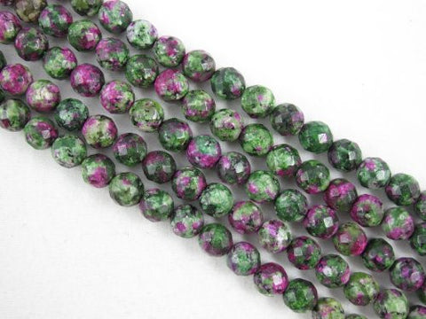 Ruby Zoisite Synthetic Beads Faceted Round 8mm Green/Red Color 48pcs 16''per Strand