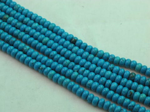 Nature Chinese Turquoise Roundell Blue 6*4mm 16'' Per Strand 103pcs
