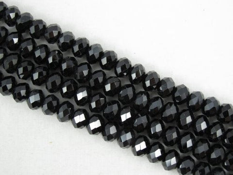 Black Spinel Beads Natural Gemstone A Grade Faceted Rondelle 5x8mm 96pcs 15.5'' Per Strand Jewelry Making Beads