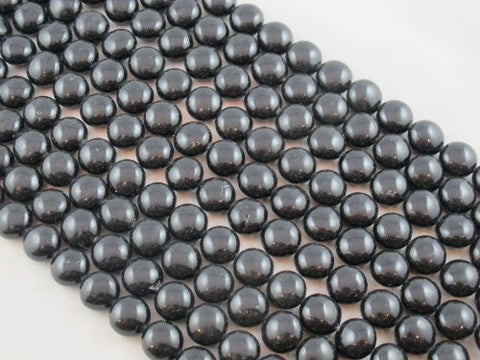 Shell Pearl Black Oblate Shape 12mm in Diameter 33pcs 15''per Strand
