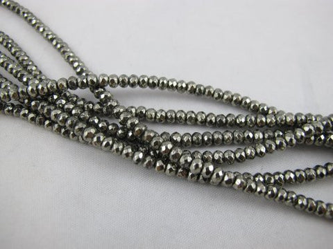 Pyrite Natural Gemstone Beads Faceted Rondelle Silver Color 2.5x4mm 143pcs 16'' Finding Charms Necklace Bracelet