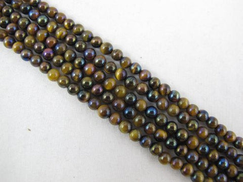 Tiger Eye Natural Gemstone Plating Multi Color Round Shape 4mm 90pcs 15.5''per Strand Jewelry Making Beads