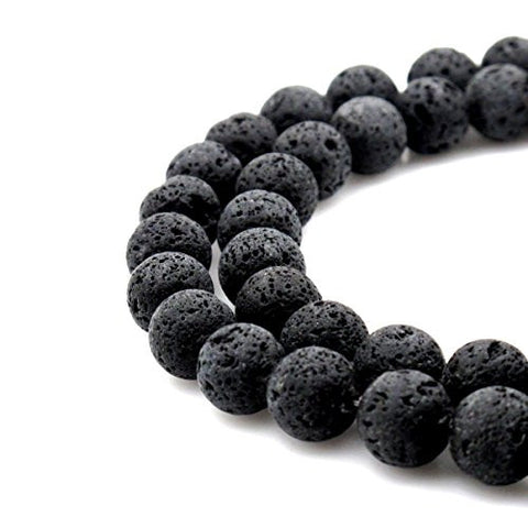 BRCbeads Gorgeous Natural Black Lava Stone Gemstone Round Loose Beads 10mm Approxi 15.5 inch 1 Strand per Bag for Jewelry Making