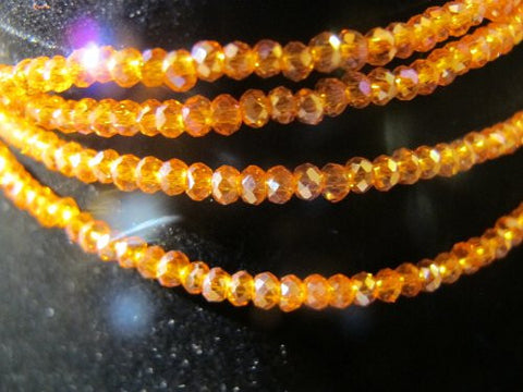 Glass Crystal Faceted Rondelle Finding Spacer Beads 3x2mm 200pcs Orang2 Color 17''per Strand