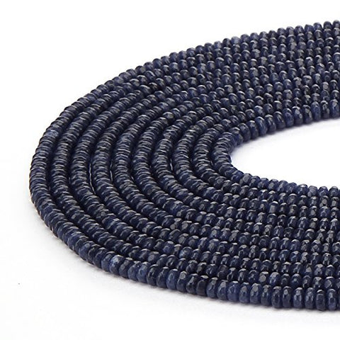 BRCbeads Gorgeous Natural Blue Sapphire Jade Gemstone Faceted Rondelle Loose Beads 2*4mm Approxi 15.5 inch 165pcs 1 Strand per Bag for Jewelry Making