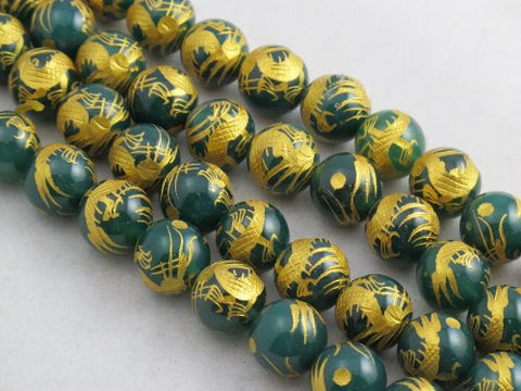 Nature Aventurine Round Carving Gold Dragen 12mm 32pcs Per Strand 15.5''