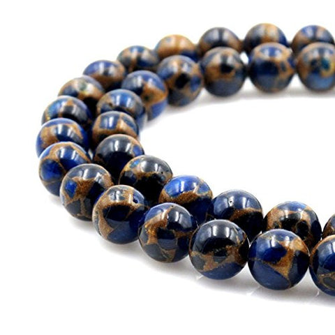 BRCbeads Gorgeous Synthetic Blue Mosaic Quartz Gemstone Round Loose Beads 6mm Approxi 15.5 inch 60pcs 1 Strand per Bag for Jewelry Making