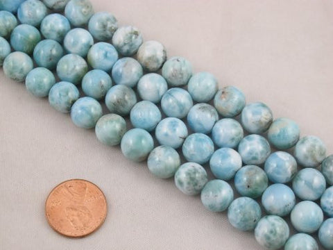 "Natural Larimar A Grade Gemstone Dominican Larimar 10mm Round 40pcs 15.5"" Per Strand Jewelry Making&design Beading"