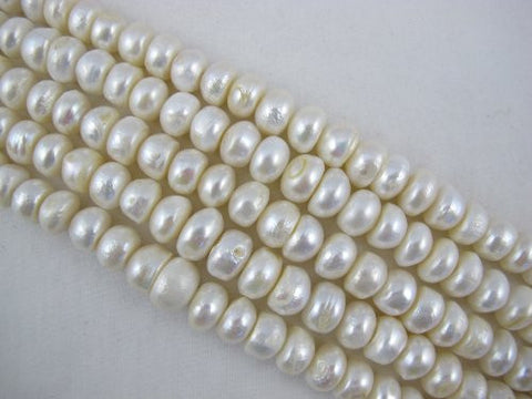 Freshwater Pearl Beads Rondelle Shape White Color 10mm 45pcs 15.5 Inch Per Strand