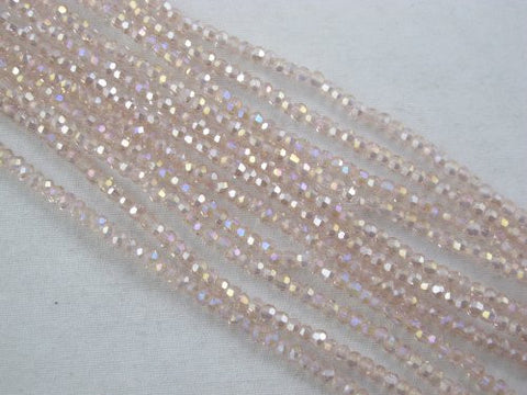 Glass Crystal Faceted Rondelle Finding Spacer Beads 2x3mm 190pcs Pink2 Color 16''per Strand