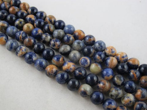 Sodalite Nature Sodalite Round 12mm Blue/orange Color 16''per Strand