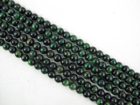Tiger Eye Natural Gemstone Green Color Smooth Round Shape 8mm 49pcs 15.5''per Strand Jewelry Making Beads