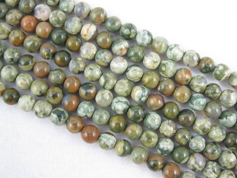 Rhyolite Natural Gemstone Round 6mm Green Color 65pcs 15.5'' Strand Gemstone Beads