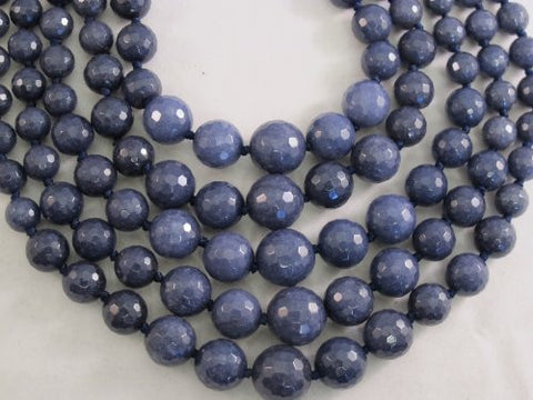 Mountain Jade (Dyed) Dark Blue Color Gradualed 39pcs 18'' Per Strand