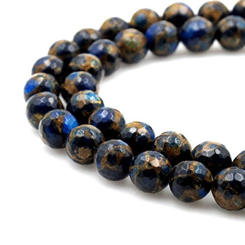 BRCbeads Gorgeous Synthetic Faceted Blue Mosaic Quartz Gemstone Round Loose Beads 8mm Approxi 15.5 inch 45pcs 1 Strand per Bag for Jewelry Making