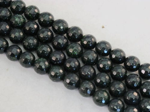 Sandstone Beads Green Color 10mm Faceted Round 40pcs 15.5''