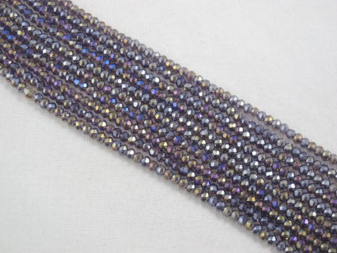 Glass Crystal Faceted Rondelle Finding Spacer Beads 2x3mm 190pcs Purple1 Color 16''per Strand