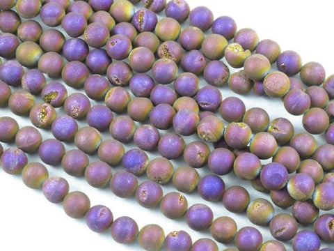 Druzy Agate Round 10mm 37pcs 15''strand Coating Purple Color Finding Charms Necklace Bracelet Jewelry Making Beads