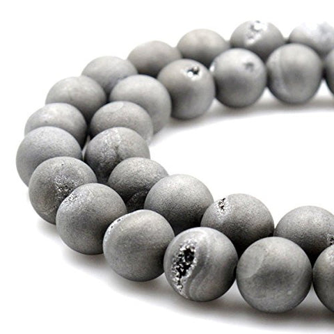 BRCbeads Gorgeous Natural Silver Durzy Agate With Coating Gemstone Round Loose Beads 14mm Approxi 15.5 inch 25pcs 1 Strand per Bag for Jewelry Making