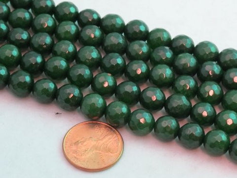 Mountain Jade (Dyed) Dark Green 8mm Faceted Round 15.5'' 48pcs Per Strand