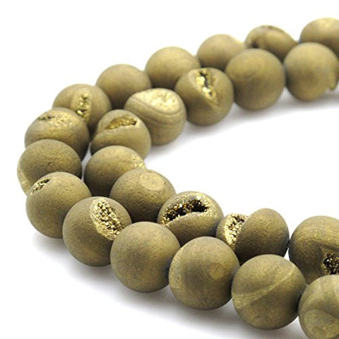 BRCbeads Gorgeous Natural Gold Durzy Agate With Coating Gemstone Round Loose Beads 14mm Approxi 15.5 inch 25pcs 1 Strand per Bag for Jewelry Making