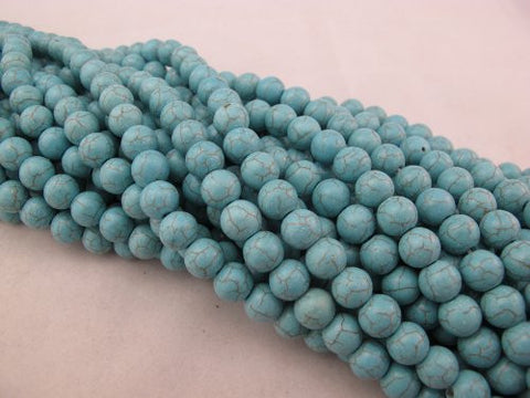 Howlite Dyed Blue Round Beads 10mm 46pcs 16'' Per Strand