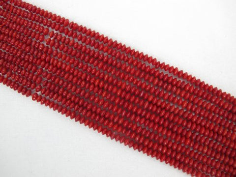 Coral Beads Bamboo Coral Dyed Red Color 2x4mm Dish Shape 160pcs 16'' Per Strand