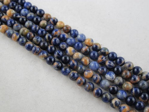 Sodalite Nature Sodalite Round 6mm Blue/orange Color 66pcs 16''per Strand