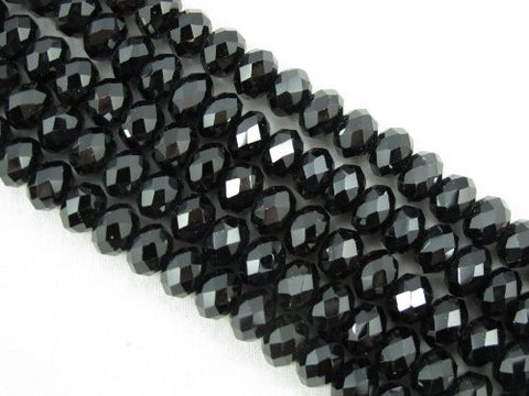 Black Spinel Beads Natural Gemstone A Grade Faceted Rondelle 4x6mm 96pcs 15.5'' Per Strand Jewelry Making Beads