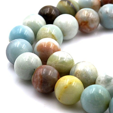 BRCbeads Gorgeous Natural Colorful Amazonite Gemstone Round Loose Beads 12mm Approxi 15.5 inch 30pcs 1 Strand per Bag for Jewelry Making