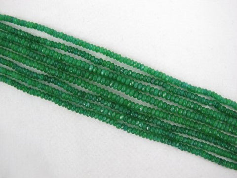 Mountain Jade (Dyed) Green Color 2x3mm Faceted Rondelle 210pcs 15.5'' Per Strand