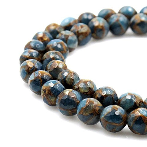 BRCbeads Gorgeous Synthetic Faceted Light Blue Mosaic Quartz Gemstone Round Loose Beads 12mm Approxi 15.5 inch 30pcs 1 Strand per Bag for Jewelry Making