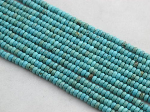 Nature Chinese Turquoise Roundell Light-blue 3*4mm 16'' Per Strand 154pcs