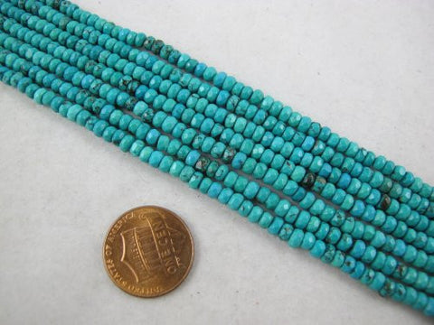 Nature Chinese Turquoise Roudell faceted Shape Blue/green 2x4mm 15.5'' Per Strand 180pcs