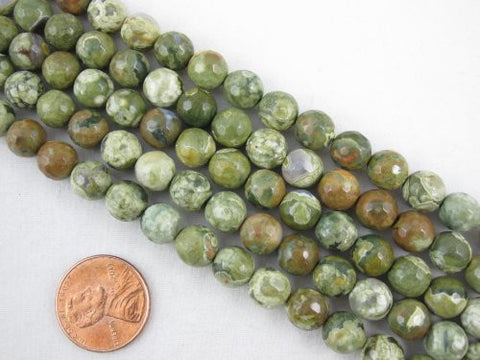 Rhyolite Natural Gemstone Faceted Round 8mm Green Color 48pcs 15.5'' Strand Gemstone Beads