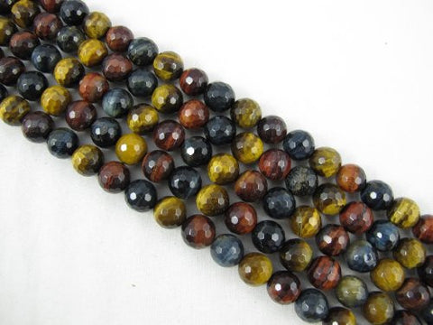 Tiger Eye Natural Gemstone Multi Color Faceted Round Shape 10mm 40pcs 15.5''per Strand Jewelry Making Beads