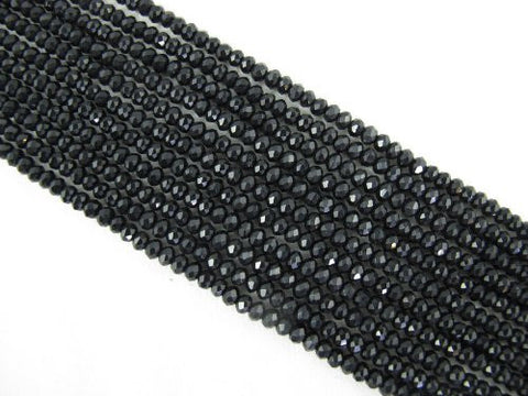 Mountain Jade (Dyed) Black Color 2x4mm Faceted Rondelle 146pcs 15.5'' Per Strand