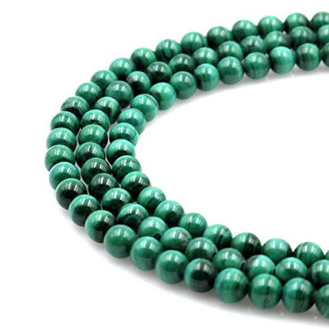 BRCbeads Gorgeous Natural Green Malachite Gemstone Round Loose Beads 6mm Approxi 15.5 inch 60pcs 1 Strand per Bag for Jewelry Making