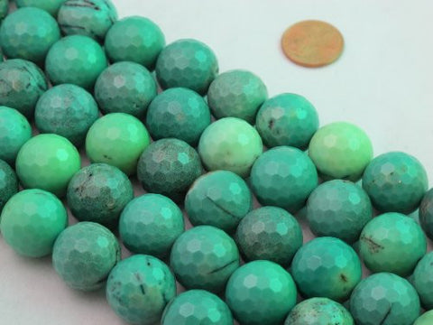 "Green Chrysoprase Beads Gemstone 18mm Facted Round 22pcs 15.5"" Strand Finding Charms Jewelry Making&design Beading"