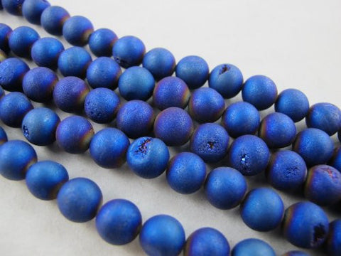 46pcs Druzy Agate Round 8mm 15.5''strand Blue Color Finding Charms Necklace Bracelet Beads