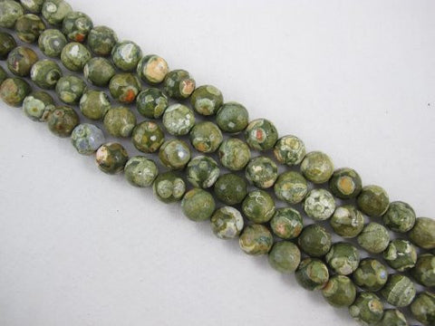 Rhyolite Natural Gemstone Faceted Round 12mm Green Color 34pcs 15.5'' Strand Gemstone Beads
