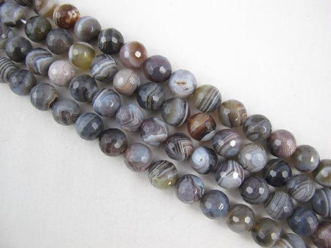 Agate Natural Gemstone Botswana Agate Brown Color Faceted Round 12mm 31pcs 15.5'' Per Strand Beads