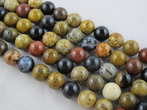 Wood Fossil Nature Wood Fossil Round 14mm Multi-color 29pcs 16''per Strand