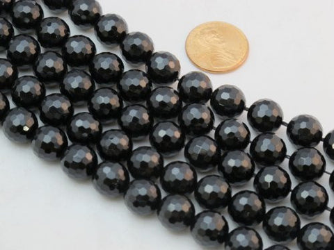 Black Onyx 10mm Faceted Beads Round 15.5'' Per Strand