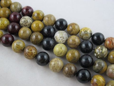 Wood Fossil Nature Wood Fossil Round 16mm Multi-color 25pcs 16''per Strand