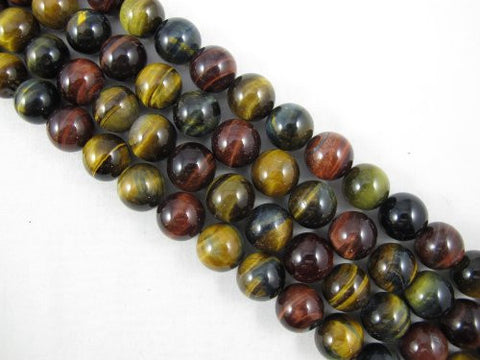 Tiger Eye Natural Gemstone Round Beads 15.5 Inch Yellow/ Brown/ Multi Color