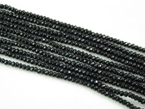 Glass Crystal Faceted Rondelle Finding Spacer Beads 3x2mm 150pcs Black Color 17''per Strand
