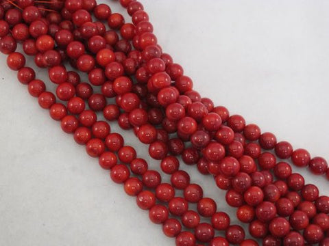 Coral Beads Bamboo Coral Dyed Red Color 6mm Round 70pcs 16'' Per Strand