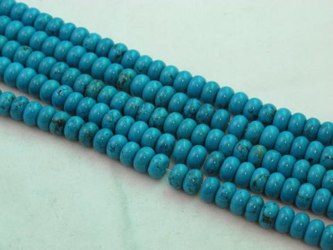 Nature Chinese Turquoise Roundell Blue 5*8mm 16'' Per Strand 82pcs