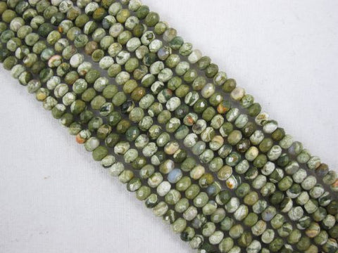 Rhyolite Natural Gemstone Faceted Rondelle 2.5x4mm Green Color 139pcs 15.5'' Strand Gemstone Beads